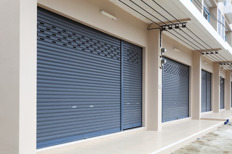 Shutter door or roller door and concrete floor of Commercial Bui