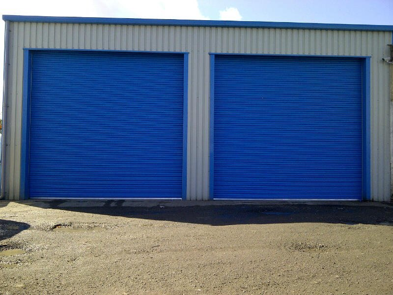 twin blue roller doors