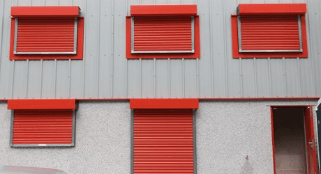 red roller shutters